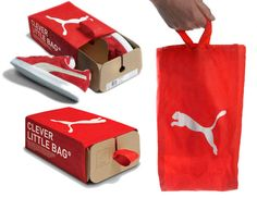 Shoeboxes are a very utilitarian object. One could think that such a dull object would never be attractive or identifiable to a trend or an idea. Puma proved them wrong with this ingenious shoebox that wraps the shoes with a single piece of folded cardboard and a matching bag marked with the iconic logo and red colour.Puma has succeeded into making an unattractive and uninspiring object, desirable and meaningful : its design is very simple, practical and attractive, and yet it conveys a…