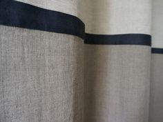 Linen curtain Color block 163cm or longer by LOVELY HOME IDEA