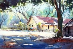 Vilas Kulkarni Tree Watercolor Painting, Watercolor Landscape Paintings, Landscape Drawings, Watercolor Sketch, Watercolour Painting, Landscape Art, Landscapes, Watercolor Architecture, Art Pictures