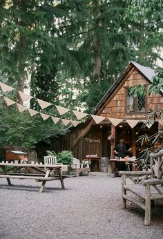 Outdoor Barn Wedding with Bunting Garland and String Lights