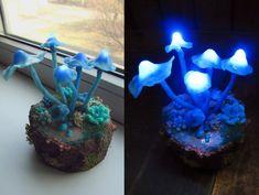 Mushrooms Night Light  Blue Polymer Clay Fungi by TheSnowmade