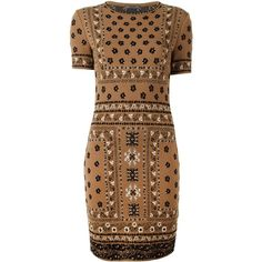 Alexander McQueen Patterned Jacquard Pencil Dress (19.893.630 IDR) ❤ liked on Polyvore featuring dresses, brown, jacquard dress, brown dress, pencil dress, jacquard print dress and short sleeve dress