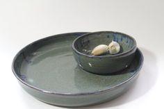 Handmade Chip and Dip Serving Set Garlic Olive by inHIShandsart, $45.00
