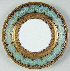 """Golden Fire"" china pattern with turquoise blue rim & ornate gold scroll trim from Chas Field Haviland."