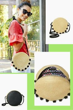 What a cute bag! Such a fun piece that is in our new summer collection. Such a fun pop of color on the inside as well! Round Bag, Pom Poms, Summer Collection, Vegan Leather, Panama Hat, Color Pop, Straw Bag, Summer Outfits, Alice