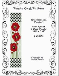 Peyote Bracelet Pattern Checkerboard Floral Design using