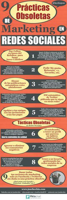 #Infografia #SocialMediaMarketing 9 prácticas obsoletas en Redes Sociales. #TAVnews