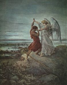 Jacob wrestling with the Angel - Paul Gustave Dore 1855 (Bible illustrated) Gustave Dore, Just For Laughs, Just For You, Funny Captions, Laughing So Hard, Haha Funny, Funny Stuff, Funny Things, Hilarious Pictures