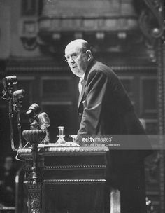 Jan Masaryk of Czechoslovakia making a speech during Peace Conference.