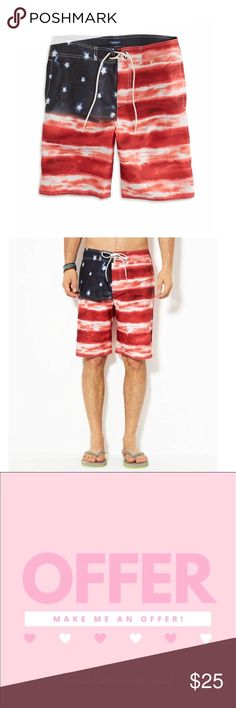 d7c7aa5ea2 American Eagle flag board shorts American Eagle Americana swim shorts Flag  print Size medium Great condition