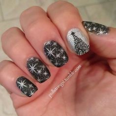 Fashion For Women: Christmas black stars nail