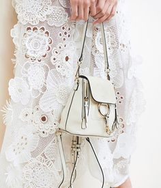 Modern details – the compact Faye backpack's contemporary clean lines complete feminine lace looks from during Paris fashion week. Fashion Bags, Love Fashion, Fashion Backpack, Paris Fashion, Chloe Faye Backpack, Best Bags, Luxury Handbags, Designing Women, Fancy