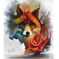 Tattoo cute fox 40 ideas for 2019 Animal Drawings, Art Drawings, Abstract Wolf, Fox Tattoo Design, Fuchs Tattoo, Fox Drawing, Fox Painting, Fox Illustration, Fox Art