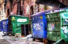 Dumpsters in alley