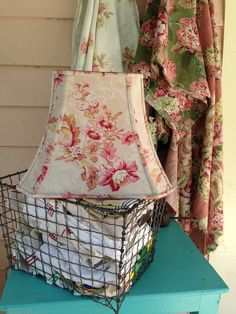 """Rare Bark Cloth Lampshade, French Floral Lamp Shade, Rectangle Bell 7""""t x 12""""b x 9.5"""" h, Pink and Rose Flowers, Vintage Fabric, Shabby Chic by lampshadelady on Etsy"""