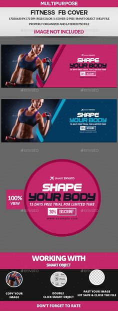 Fitness Facebook Cover Template PSD. Download here: https://graphicriver.net/item/fitness-facebook-cover-/17589587?ref=ksioks