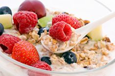 Oatmeal and berries -- one of the healthiest breakfast carbs you can possibly eat.