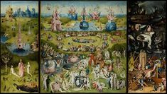 """This is by Hieronymus Bosch. The painting is called """"The Garden of Earthly Delights""""(1503-1504) . This picture tells me that the Adam and Eve represents life before sin. The middle is the earthly delights part, and i think that represents temptation to people. Hell on the last part of the picture is what happens when you fallow your earthly desires and sin. This is how the church would look at it and probably why it was made, to show what sin and living lavishly gets you in the after life."""