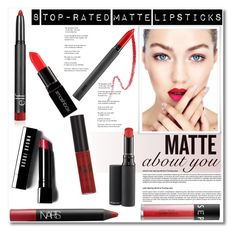 """""""8 Top-Rated Matte Lipsticks"""" by deeyanago ❤ liked on Polyvore featuring beauty, MAC Cosmetics, NARS Cosmetics, Bite, Bobbi Brown Cosmetics, Sephora Collection and Smashbox"""