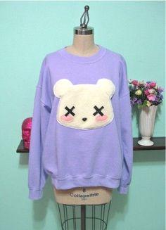 sweater cute clothes pastel goth pastel teddy bear dead goth emo scene purple lavender cozy comfy kawaii grunge sweet blush