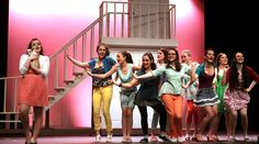 "Margot (Devin McGinn), left, and the sisters of Delta Nu are thrilled to hear that sorority President Elle Woods is supposed to get engaged to Warner Huntington III in ""Omigod You Guys."" Gazette staff photo by BOB RAINES"