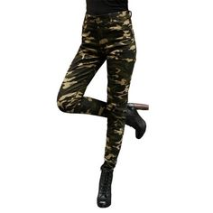 2017 Women's pants trousers women pantalon femme pantalones mujer Camouflage women Military Fashion Green Pants legging New Se13