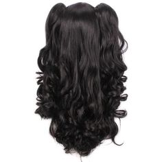 L-email Long Lolita Clip on Ponytails Wavy Cosplay Wigs (66 CAD) ❤ liked on Polyvore featuring beauty products, haircare, hair styling tools, hair, black, hair style and lolita