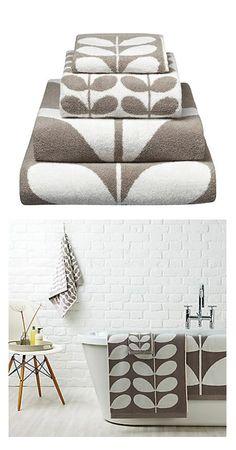 'Stem' Towels in Grey - Orla Kiely