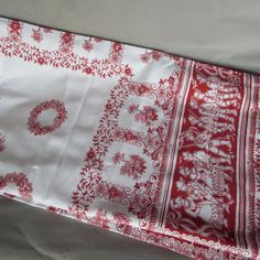 SCANDAVIAN Print TABLECLOTH 45 x 50 RED on White by MagpieJane