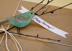 bird giftwrap idea!