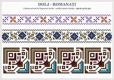 Semne Cusute: traditional Romanian motifs - OLTENIA : Dolj-Roman... Embroidery Sampler, Cross Stitch Embroidery, Cross Stitch Patterns, Beading Patterns, Knitting Patterns, Blackwork Patterns, English Paper Piecing, Needlepoint, Needlework