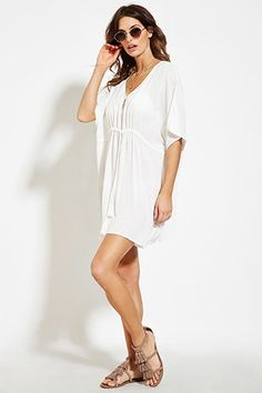 Drawstring Gauze Swim Cover-Up Shop Forever, Forever 21, Swimwear Cover Ups, Swim Cover, Latest Trends, Summer Outfits, White Dress, Short Sleeve Dresses, Style Inspiration