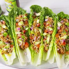 Low-Carb Turkey Taco Lettuce Cups No bread? No problem! Doubling up on romaine leaves insures a mess-free lunch, sans the carbs. If you're looking for more lettuce cups we love these easy Thai chicken lettuce cups! Get the recipe at . Lunch Recipes, Healthy Dinner Recipes, Mexican Food Recipes, Diet Recipes, Healthy Snacks, Cooking Recipes, Easy Recipes, Healthy Dishes, Lettuce Wrap Recipes