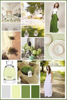 Lime and emerald green shades (two shades of green) paired with white, silver or grey for the third color