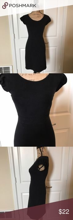 Theory Black Capped Sleeve Dress Sz 0 Theory Black Capped Sleeve Dress Sz 0!  Has signs of wear but still very cute!  Thread loose on one small part of sleeve but very easy fix! Theory Dresses
