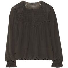 Isabel Marant anthracite Wita blouse. Silk-crepe. Embroidered shoulders, smocked woven yoke, ruffled buttoned cuffs, pleated, elasticated hem. Button fastening…