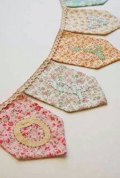Buttons Banners love this little bunting doily bunting Family Name Banner Fabric Bunting, Bunting Garland, Bunting Banner, Garlands, Doily Bunting, Fabric Banners, Bunting Ideas, Vintage Bunting, Pennant Banners