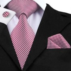 Silk Neck Tie Set Geometric Cuff Links Set Pocket Square - in length and in width Necktie - in length and in width Tie Crafts, Grey Tie, Cufflink Set, Tie Styles, Tie And Pocket Square, Pocket Squares, Tie Set, Suit And Tie, Well Dressed Men