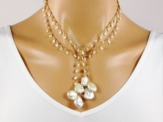 Keshi Pearl Long Lariat Necklace  14K Gold Filled  by Redondo