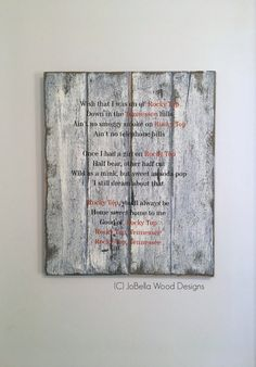 Rocky Top Lyrics Distressed Wood Sign Fits by JoBellaWoodDesigns