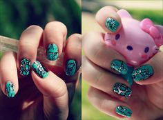 turquoise nails