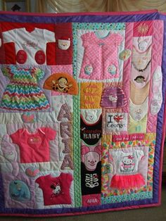 Cute idea. Add baby clothes to the quilt as the child outgrows them, then give the quilt as a gift when the child grows up.