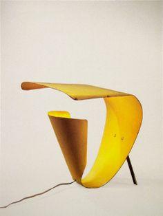 Yellow table lamp   Édition Luminalite   Michel Buffet   1953