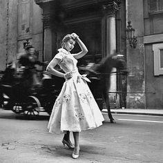 """wehadfacesthen: """" Model wearing a dress from the spring collection of Emilio Schuberth, Rome, 1955, photo by Federico Galrolla """" Photo by Federico Garolla"""