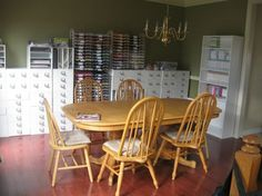 Dining room converted into scrapbook room. by queen