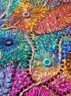 """Shisha, Close-up"" - art by Karen Cattoire, via Flickr;  silk fibers, appliques are organza, shisha, beads, and sequins;  15.75"" x 19.5"""
