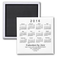 2016 Calendar by Janz Business Card Magnet