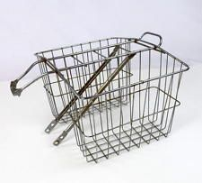 Vintage 70s Retro Bicycle Metal Double Basket Saddle Bag Pannier Bike Accessory Retro Bicycle, Vintage Bicycles, Vintage Metal, Vintage 70s, Beach Cruisers, Bicycle Basket, Newspaper Basket, Bicycle Accessories, Bicycling