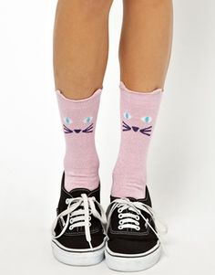 Image 1 ofLazy Oaf Glitty Kitty Ankle Socks