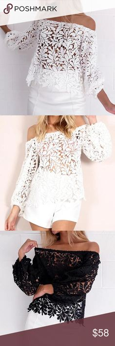 🛒Coming Soon Lace Off Shoulder Blouse 2017 Summer Sexy Women Lace Blouses Elegant Slash Neck Off Shoulder Solid Tops Hollow Out See Through White Shirts Queen Esther Etc Tops Blouses